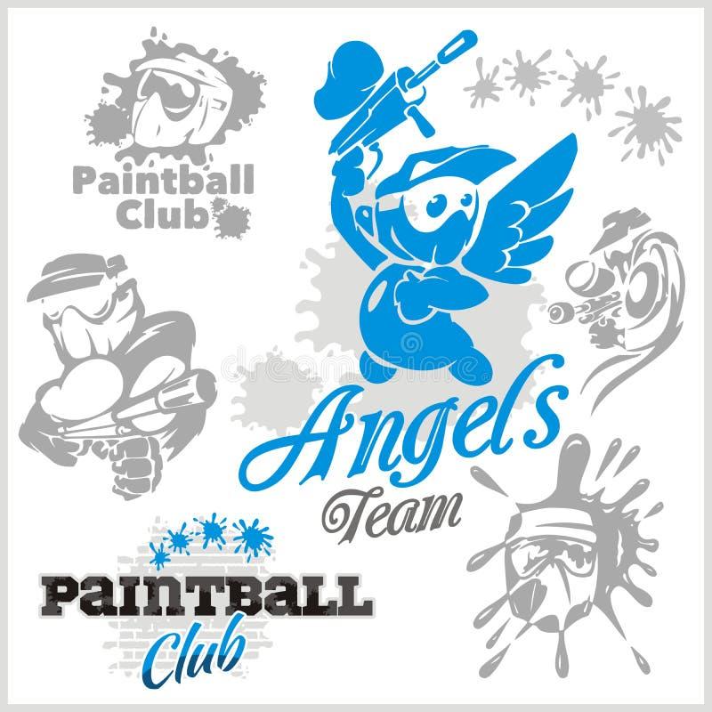 Paintball emblemat i logo - wektoru set ilustracja wektor