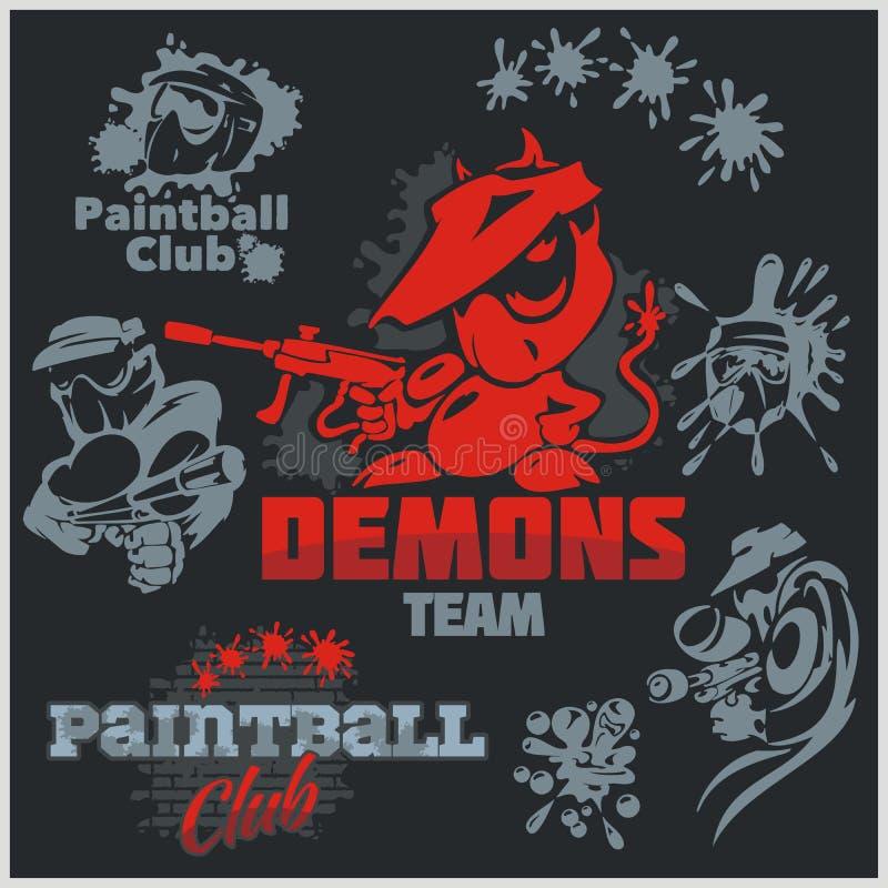 Paintball emblemat i logo - wektoru set royalty ilustracja