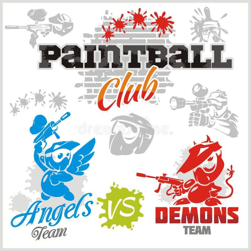 Paintball emblemat i logo - wektoru set ilustracji