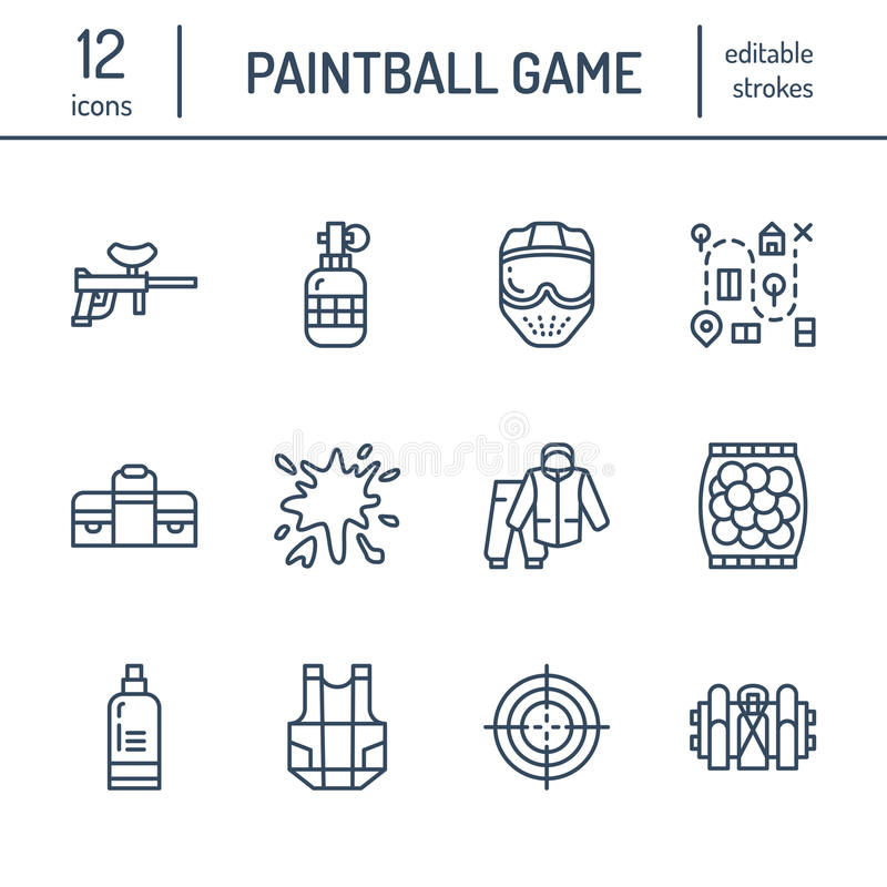 Paintball game line icons. Outdoor sport equipment, paint ball marker, uniform, mask, chest protection. Extreme leisure stock illustration