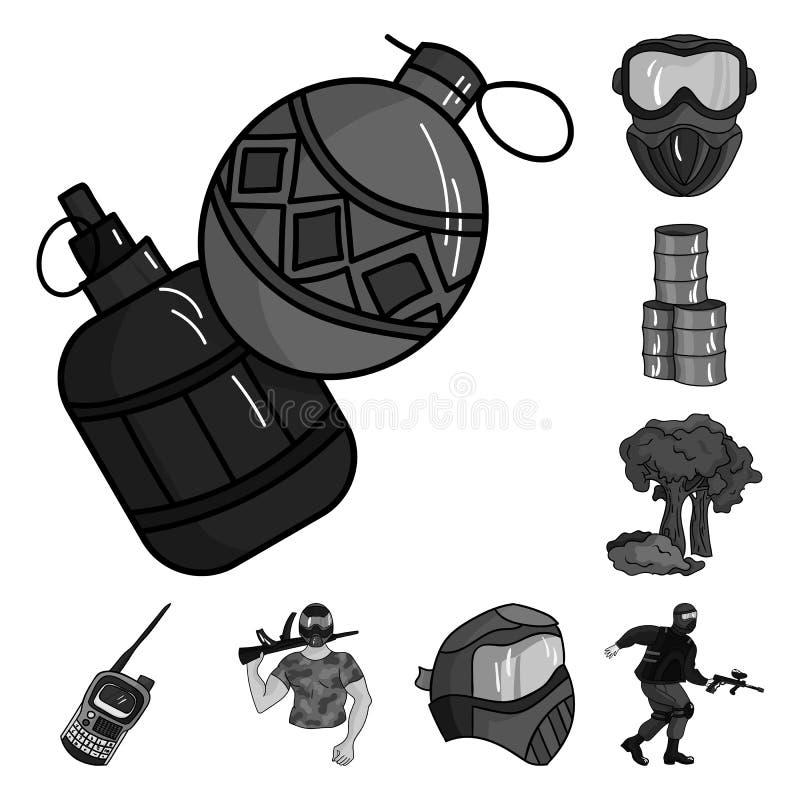 Paintball, gier zespołowych monochromatyczne ikony w ustalonej kolekci dla projekta Wyposażenia i stroju symbolu zapasu wektorowa ilustracja wektor
