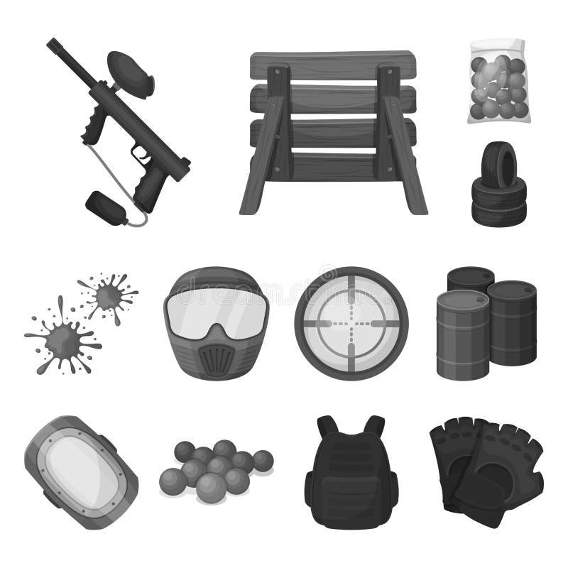 Paintball, gier zespołowych monochromatyczne ikony w ustalonej kolekci dla projekta Wyposażenia i stroju symbolu zapasu wektorowa ilustracji