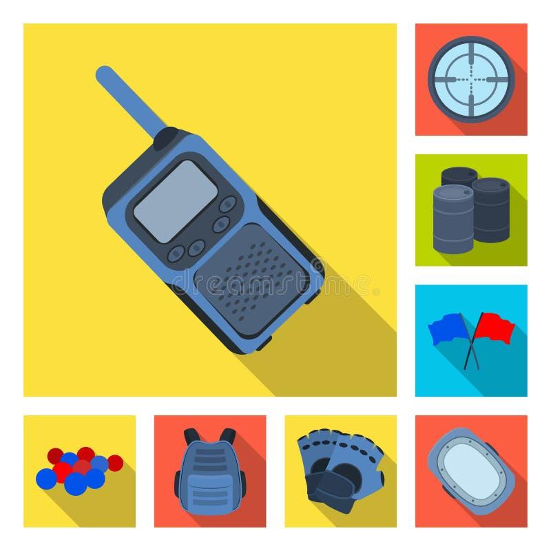 Paintball, gier zespołowych płaskie ikony w ustalonej kolekci dla projekta Wyposażenia i stroju wektorowy symbol zaopatruje sieci ilustracja wektor
