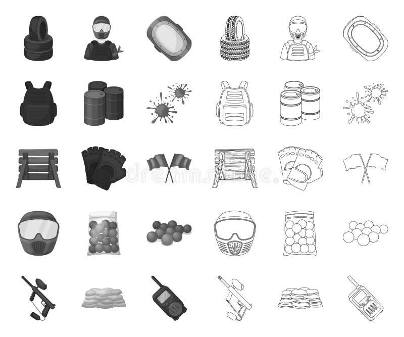 Paintball, gra zespołowa mono, kontur ikony w ustalonej kolekcji dla projekta Wyposa?enia i stroju symbolu zapasu wektorowa sie? ilustracji