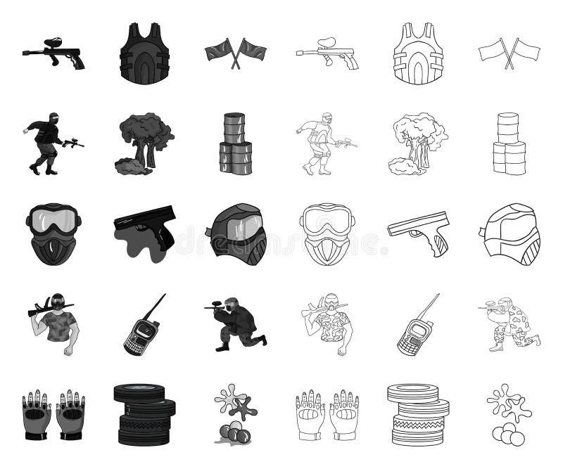 Paintball, gra zespo?owa mono, kontur ikony w ustalonej kolekcji dla projekta Wyposa?enia i stroju symbolu zapasu wektorowa sie? royalty ilustracja