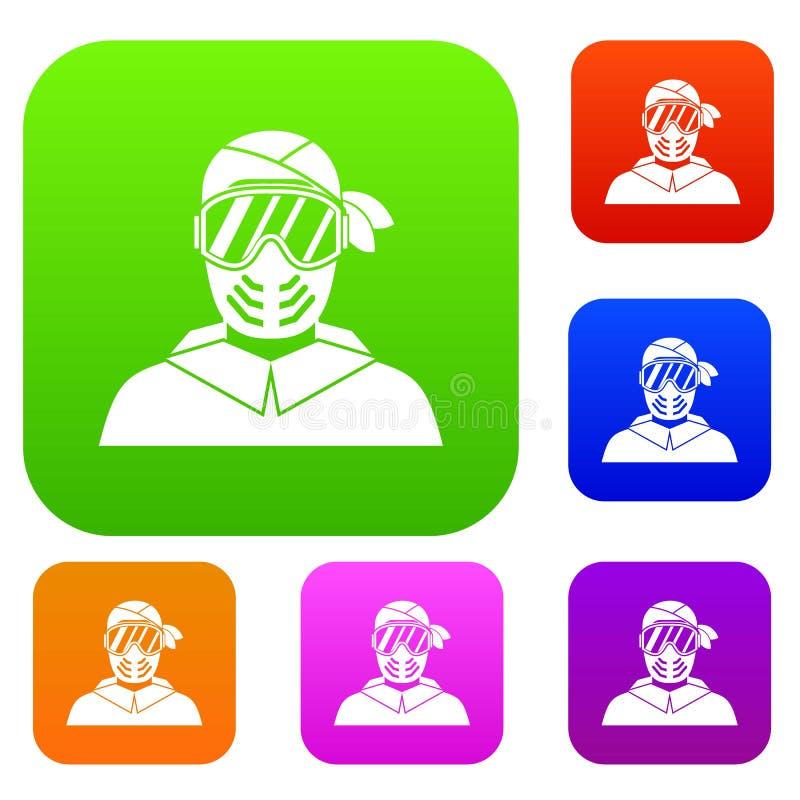 Paintball gracz jest ubranym ochronnej maski ustaloną kolekcję ilustracji