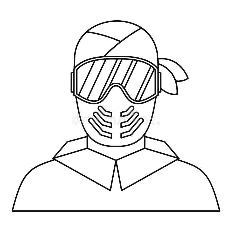 Paintball gracz w ochronnej maski ikonie ilustracji