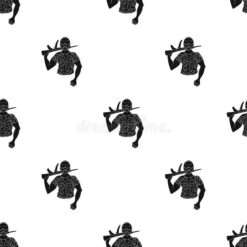 Paintball gracza ikona w czerń stylu odizolowywającym na białym tle Paintball symbolu zapasu wektoru ilustracja royalty ilustracja