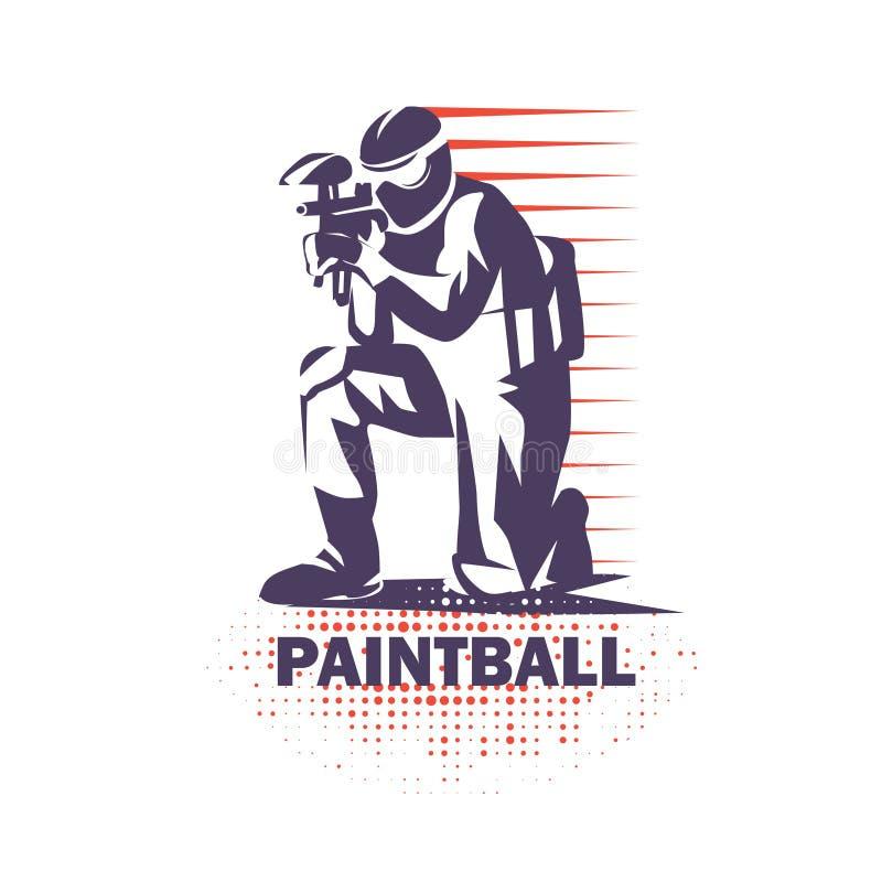 Paintball gracza stylizowany wektorowy symbol ilustracji