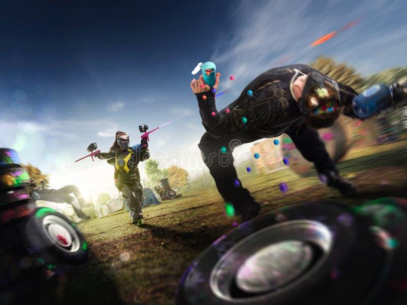 Paintball gracze bawić się grę obraz stock