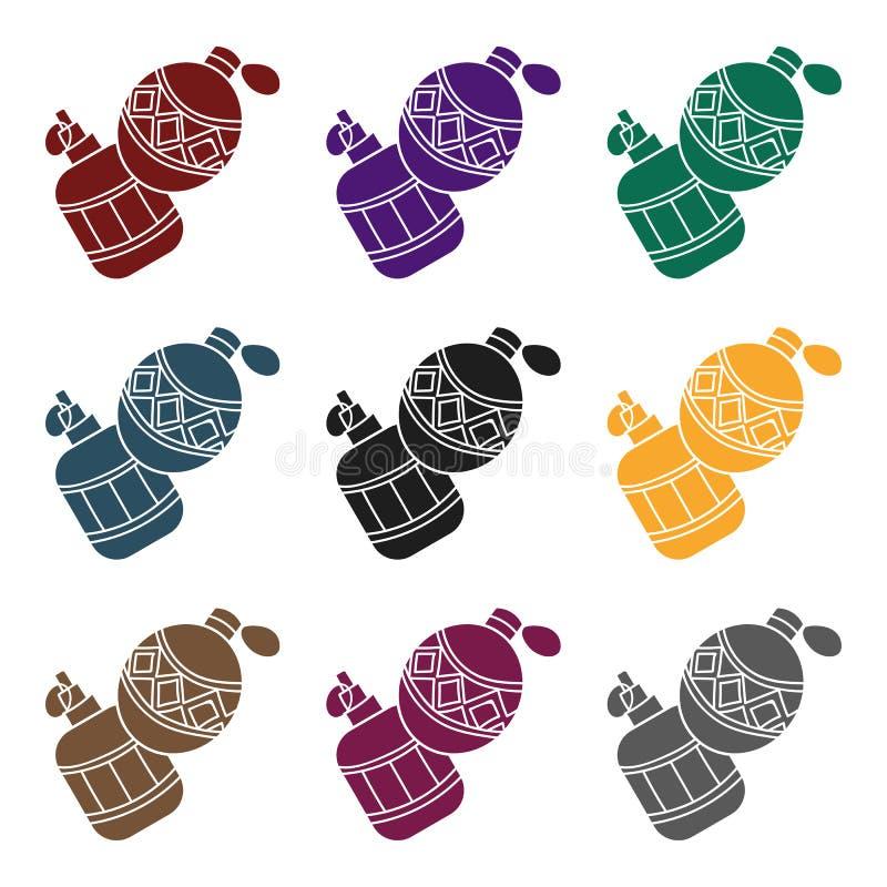 Paintball granata ręcznego ikona w czerń stylu odizolowywającym na białym tle Paintball symbolu zapasu wektoru ilustracja ilustracji