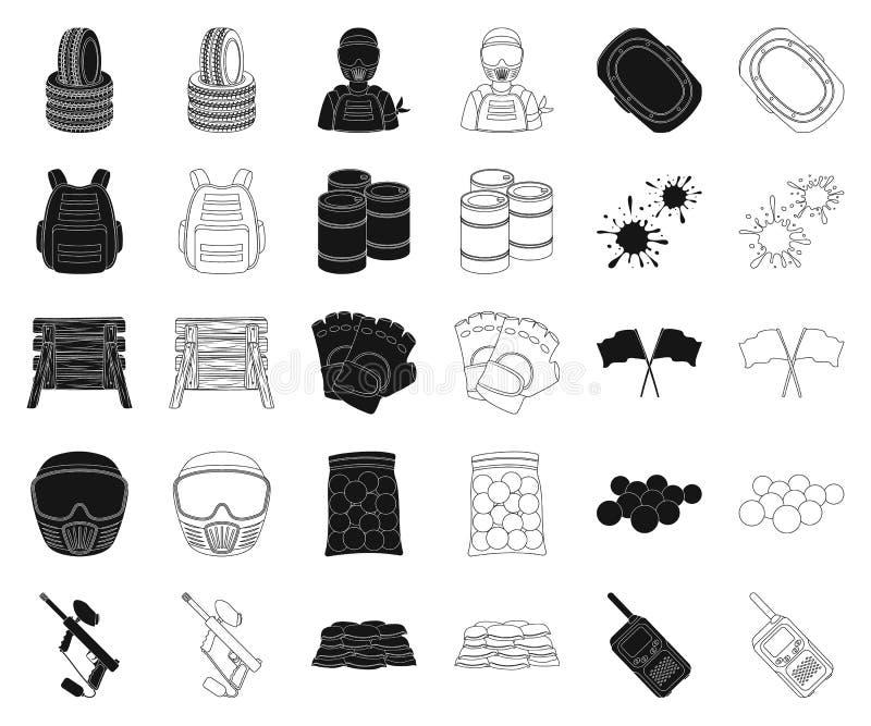Paintball, gry zespołowej czerń, kontur ikony w ustalonej kolekcji dla projekta Wyposażenia i stroju symbolu zapasu wektorowa sie ilustracja wektor