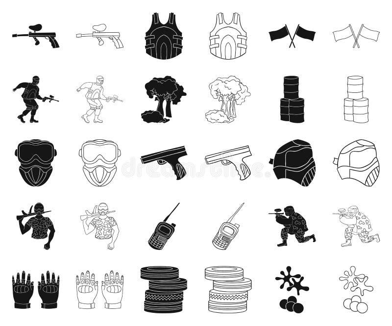 Paintball, gry zespołowej czerń, kontur ikony w ustalonej kolekcji dla projekta Wyposażenia i stroju symbolu zapasu wektorowa sie ilustracji