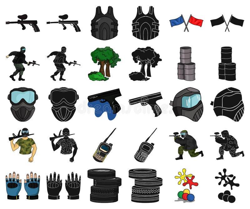 Paintball, gry zespołowej kreskówka, czarne ikony w ustalonej kolekcji dla projekta Wyposażenia i stroju symbolu zapasu wektorowa ilustracja wektor