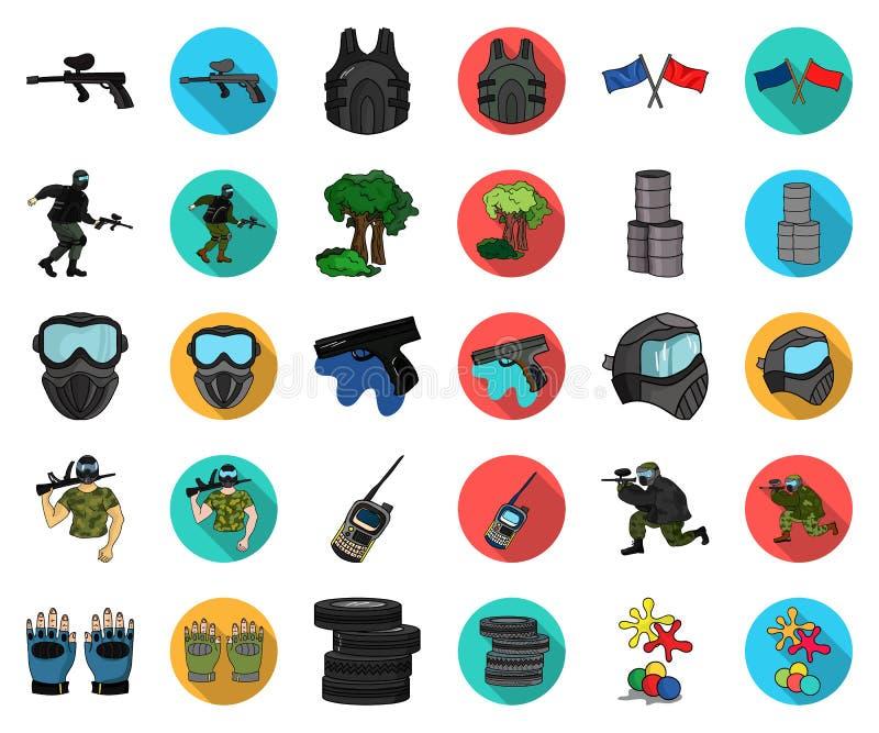 Paintball, gry zespołowej kreskówka, płaskie ikony w ustalonej kolekcji dla projekta Wyposażenia i stroju symbolu zapasu wektorow royalty ilustracja