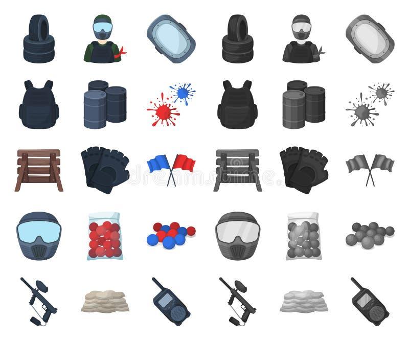 Paintball, gry zespołowej kreskówka, mono ikony w ustalonej kolekcji dla projekta Wyposażenia i stroju symbolu zapasu wektorowa s ilustracji