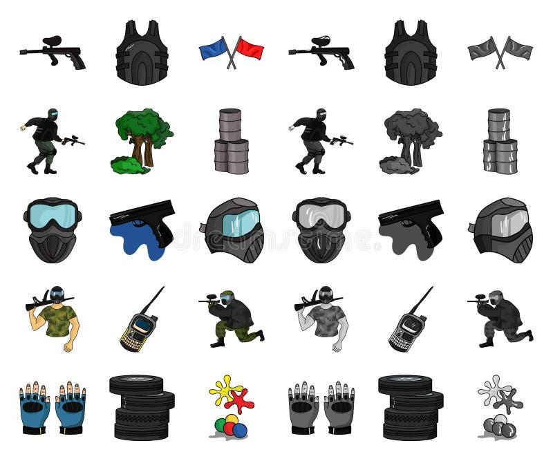 Paintball, gry zespołowej kreskówka, mono ikony w ustalonej kolekcji dla projekta Wyposażenia i stroju symbolu zapasu wektorowa s ilustracja wektor