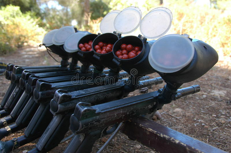 Paintball Guns In A Row