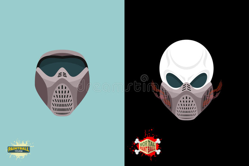 Paintball helmet and mask. scary skull with smoke. royalty free illustration