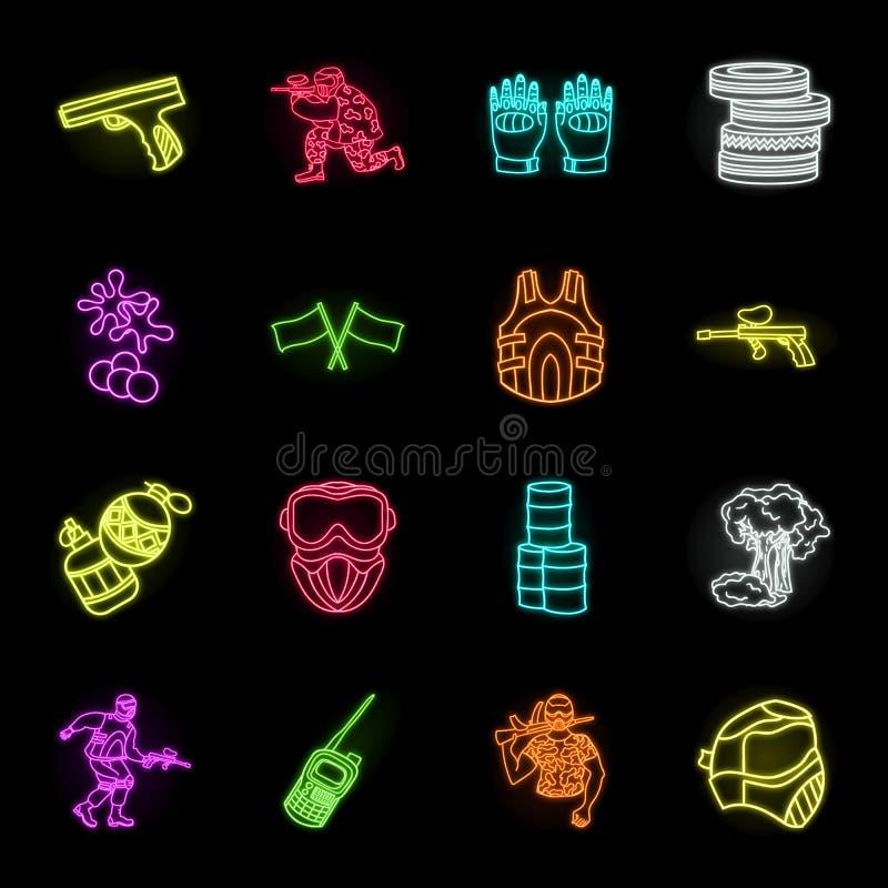 Paintball, icônes au néon de jeu d'équipe dans la collection réglée pour la conception L'équipement et l'équipement dirigent l'il illustration libre de droits