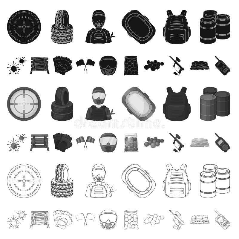 Paintball, icônes de bande dessinée de jeu d'équipe dans la collection d'ensemble pour la conception Web d'actions de symbole de  illustration de vecteur