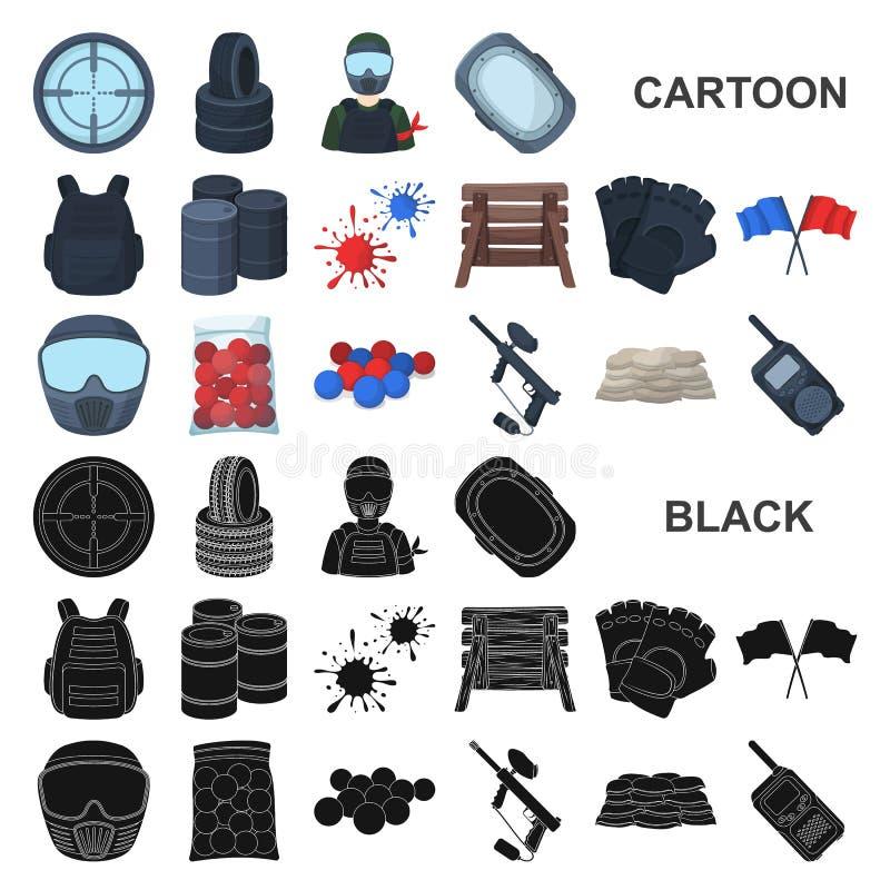 Paintball, icônes de bande dessinée de jeu d'équipe dans la collection d'ensemble pour la conception Web d'actions de symbole de  illustration libre de droits