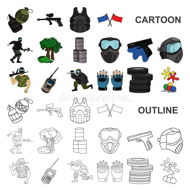 Paintball, icônes de bande dessinée de jeu d'équipe dans la collection d'ensemble pour la conception Web d'actions de symbole de  illustration stock