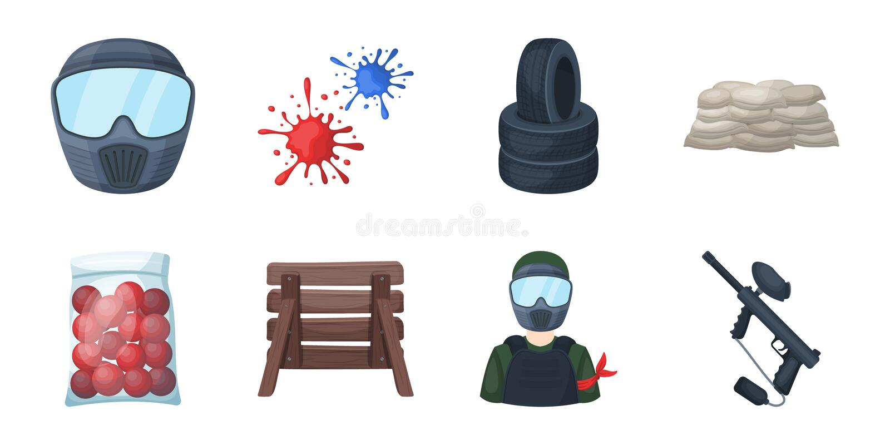 Paintball, icônes de jeu d'équipe dans la collection d'ensemble pour la conception L'équipement et l'équipement dirigent l'illust illustration stock