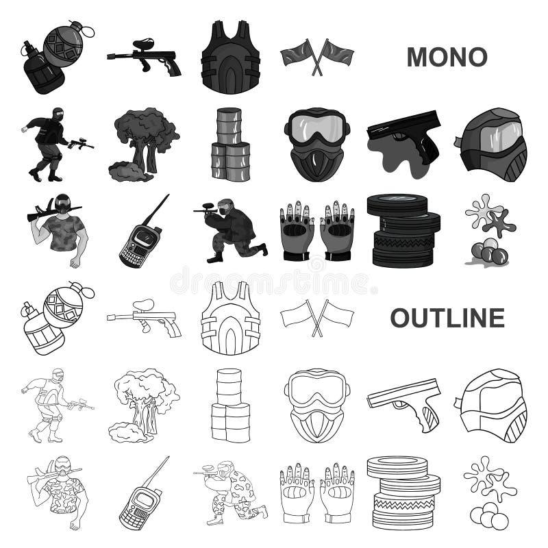 Paintball, icônes de monochrom de jeu d'équipe dans la collection réglée pour la conception Web d'actions de symbole de vecteur d illustration de vecteur
