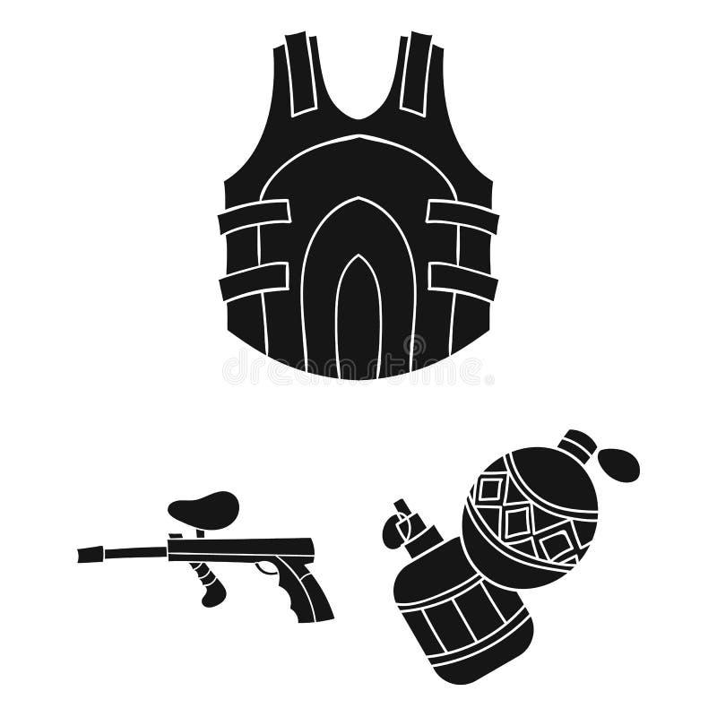 Paintball, icônes de noir de jeu d'équipe dans la collection d'ensemble pour la conception L'équipement et l'équipement dirigent  illustration de vecteur