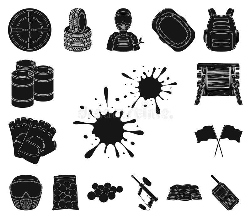 Paintball, icônes de noir de jeu d'équipe dans la collection d'ensemble pour la conception L'équipement et l'équipement dirigent  illustration libre de droits