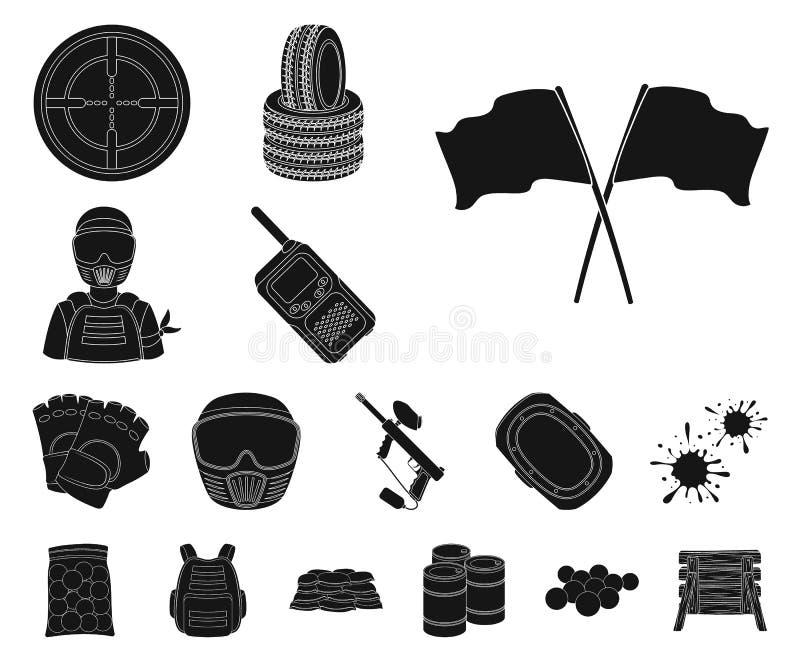 Paintball, icônes de noir de jeu d'équipe dans la collection d'ensemble pour la conception L'équipement et l'équipement dirigent  illustration stock