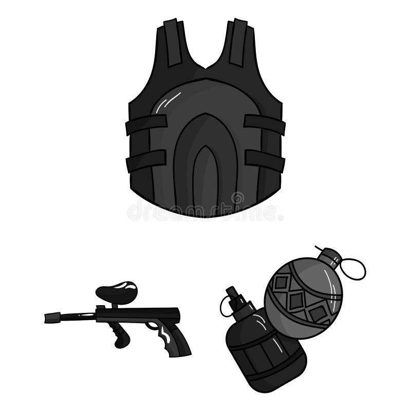 Paintball, icônes monochromes de jeu d'équipe dans la collection d'ensemble pour la conception Web d'actions de symbole de vecteu illustration stock