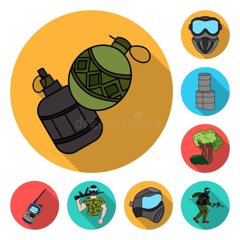 Paintball, icônes plates de jeu d'équipe dans la collection d'ensemble pour la conception L'équipement et l'équipement dirigent l illustration de vecteur