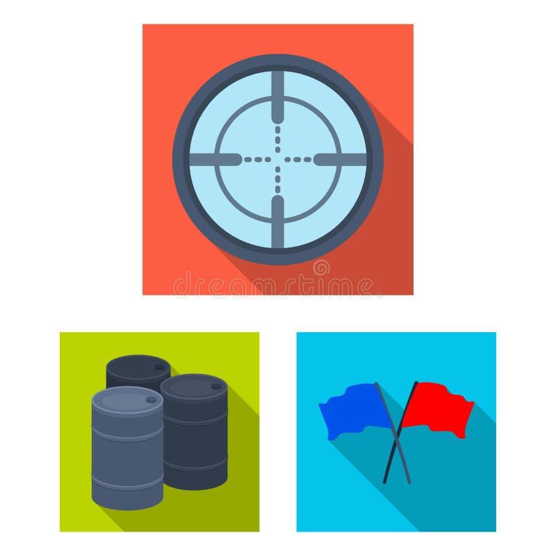 Paintball, icônes plates de jeu d'équipe dans la collection d'ensemble pour la conception L'équipement et l'équipement dirigent l illustration libre de droits