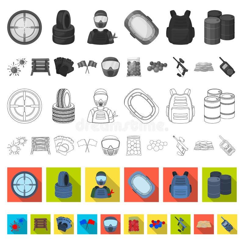 Paintball, icônes plates de jeu d'équipe dans la collection d'ensemble pour la conception L'équipement et l'équipement dirigent l illustration stock