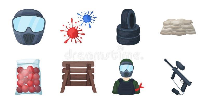 Paintball, iconos del juego de equipo en la colección del sistema para el diseño El equipo y el equipo vector el ejemplo común de stock de ilustración