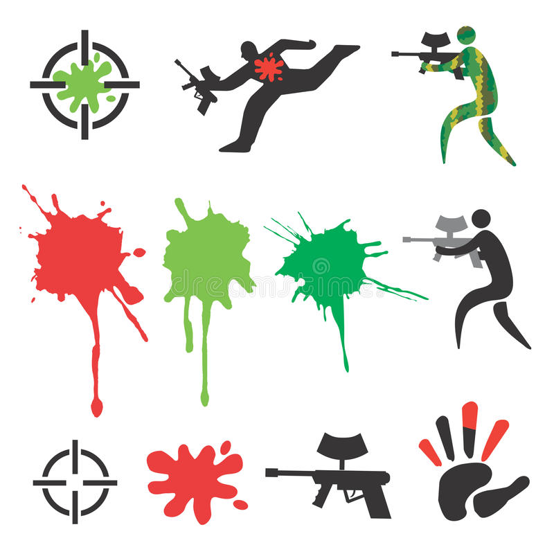 Paintball_icons_design_elements illustration stock