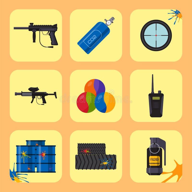 Paintball ikon ochrony świetlicowy mundur i sporta gemowego projekta elementów wyposażenie celujemy ilustrację royalty ilustracja