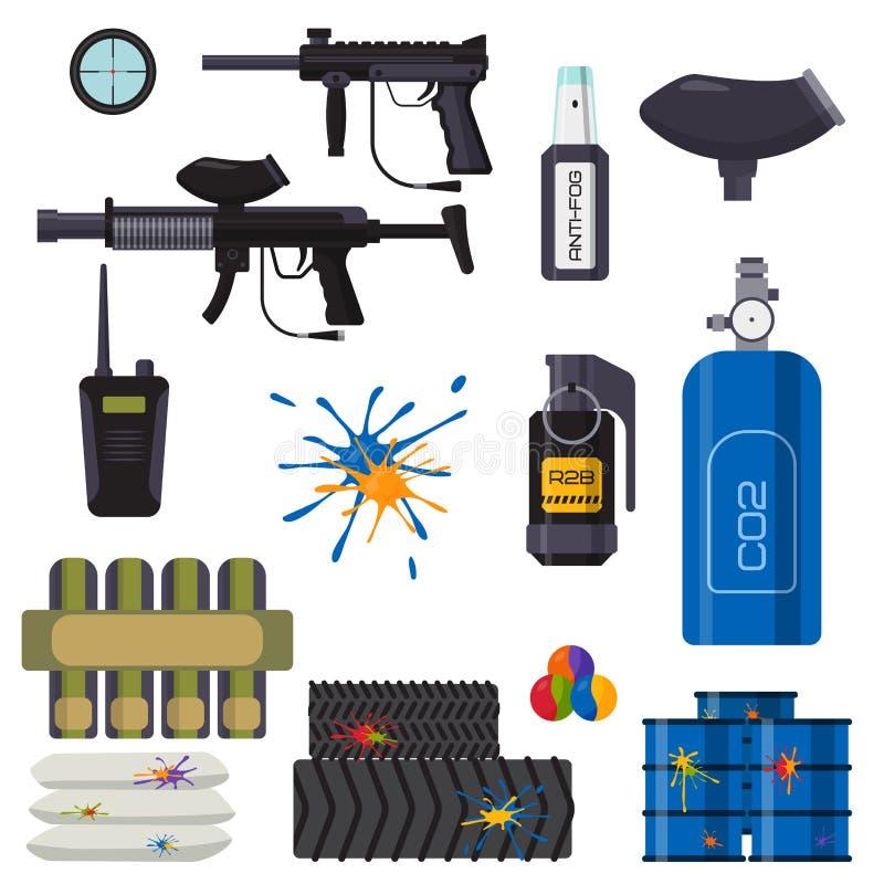 Paintball ikon ochrony świetlicowy mundur i sporta gemowego projekta elementów wyposażenie celujemy wektorową ilustrację ilustracji