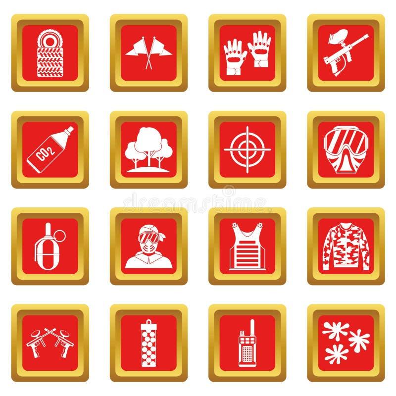 Paintball ikona ustawiająca czerwień royalty ilustracja