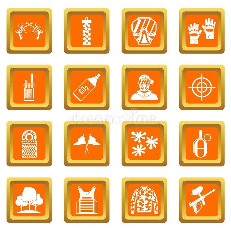 Paintball ikona ustawiająca pomarańcze ilustracja wektor
