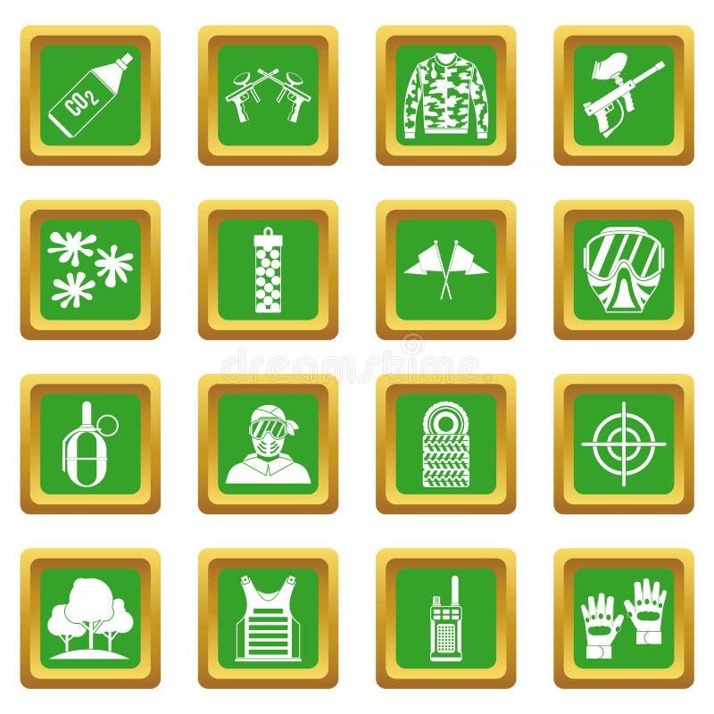Paintball ikona ustawiająca zieleń ilustracja wektor