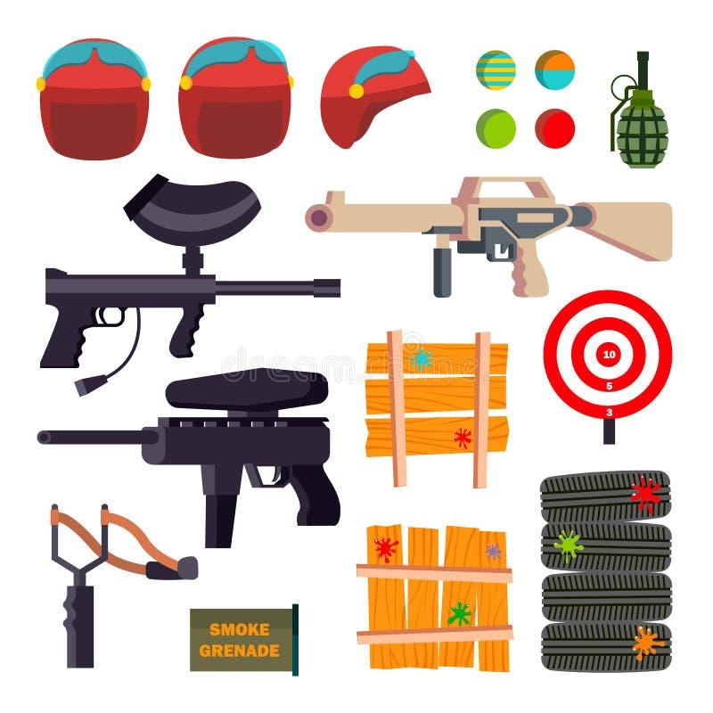 Paintball ikona Ustawiający wektor Paintball gry akcesoria Broń, krócica, hełm, granat, ochrona, farba odosobniony ilustracja wektor