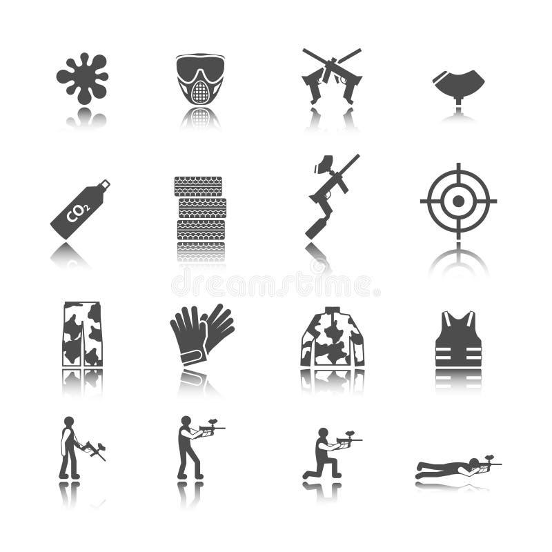 Paintball ikony set ilustracji