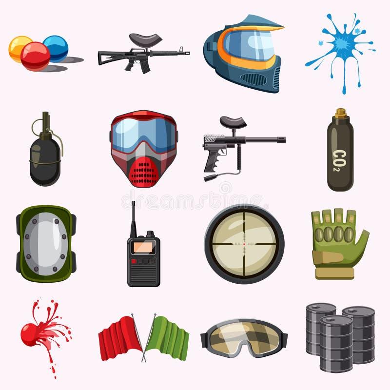 Paintball ikony ustawiać, kreskówka styl ilustracja wektor