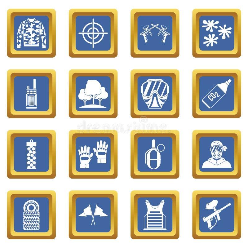 Paintball ikony ustawiają błękit ilustracja wektor