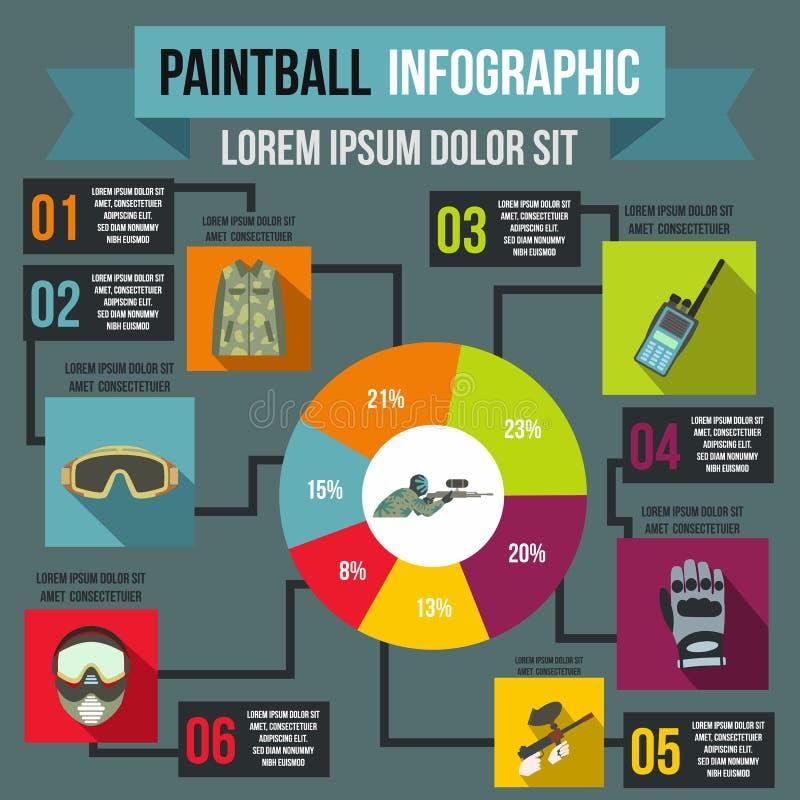 Paintball infographic, style plat illustration libre de droits