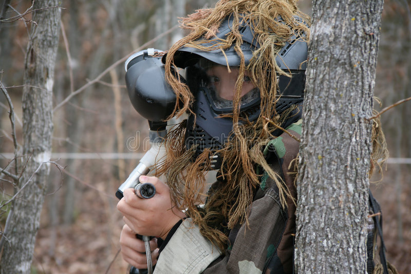 Paintball-Junge stockfoto