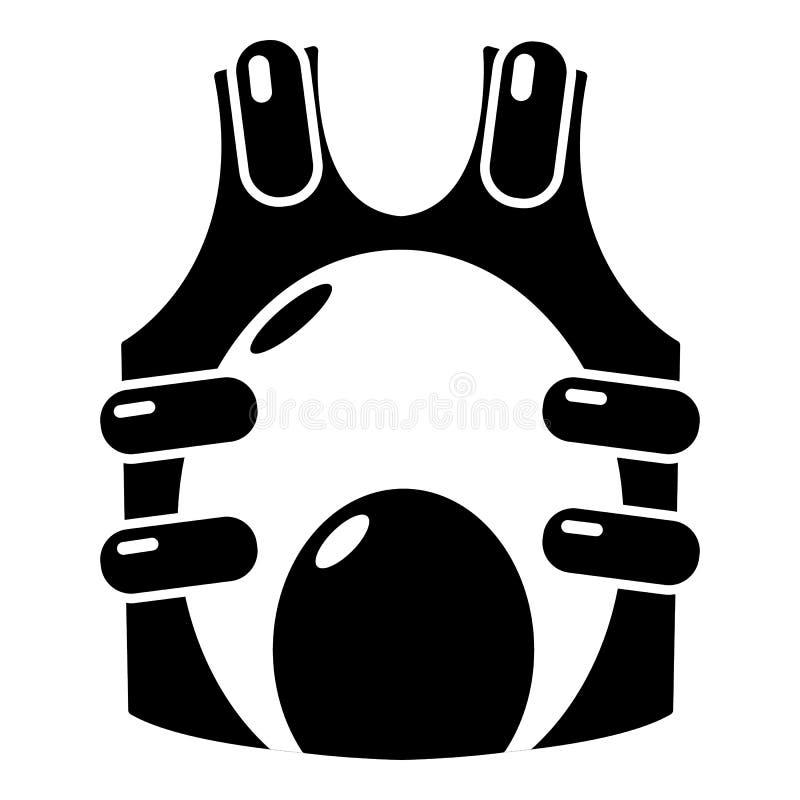 Paintball kamizelki amunicyjna ikona, prosty styl ilustracja wektor